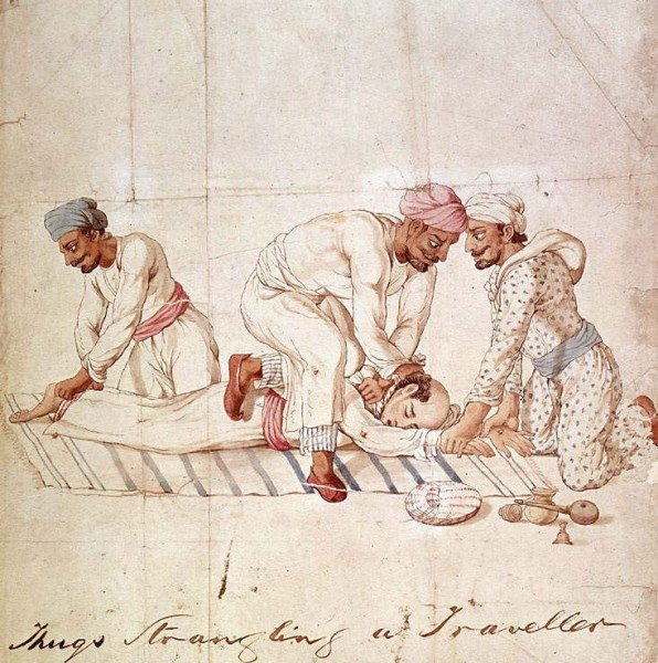 "Image: ""A groups of Thugs strangling a traveller on a highway in India in the early 19th century. One member of the group is gripping the traveller's feet, another his hands, while a third member is tightening the ligature around the traveller's neck,"" by Anonymous Indian artist. Made for Capt. James Paton, Assistant to the British Resident at Lucknow, 1829-1840 …"