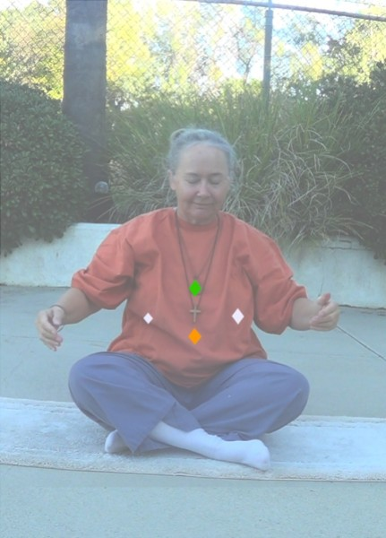 """Image: """"Central Diamond Points,"""" by Alice B. Clagett, 26 December 2018, CC BY-SA 4.0, from """"Awakening with Planet Earth,"""" https://awakeningwithplanetearth.com ... DESCRIPTION: Shows the author sitting crosslegged, with hands held a little away from body. Four small diamonds are drawn on the torso: A green diamond at the heart (representing the heart chakra); an orange diamond at the navel point (representing the third chakra), a white diamond on the left side of the bottom of the left rib (representing the Spleen Organelle or 'ida' point), and a smaller, slightly lower white diamond on the right side of the bottom right rib (representing the 'pingala' point)."""