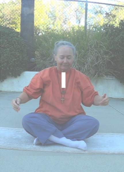 """Image: """"Upper Pranic Tube,"""" by Alice B. Clagett, 26 December 2018, CC BY-SA 4.0, from """"Awakening with Planet Earth,"""" https://awakeningwithplanetearth.com ...DESCRIPTION: Shows the author sitting crosslegged, with hands held a little away from body; there is a vertical, white rectangle from the base of the neck to just above the heart, showing the location of the trachea. Although a pose is shown of sitting crosslegged, it would be best to concentrate on the pranic tube while lying on the back in 'corpse pose' ...PURPOSE: Opening and clearing the upper Pranic Tube streamlines access to the downloads of the Incoming Light, facilitating elimination of malware in our Body of Light, and transition to DNA upgrades leading to improved health of our subtle and physical bodies.In ancient days, the yogis of India sometimes said that meditation on the trachea, or on the corresponding part of the Pranic Tube, might help a yoga attain Unmovable Mind ... a mind ready to confront any trouble with equanimity, and able to withstand any torrent of time or buffet of the natural world or tumult of new days dawning.This exercise also helps clear the high heart (located at the level of the thymus gland) and the throat chakra (the fifth chakra)."""