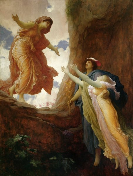 """Image: """"The Return of Persephone,"""" by Frederick Leighton, 1st Baron Leighton, 1891, a mythological painting, in Wikimedia Commons. This work is in the public domain in its country of origin and other countries and areas where the copyright term is the author's life plus 100 years or less ... DESCRIPTION: Leighton depicts Hermes helping Persephone to return to her mother Demeter after Zeus forced Hades to return Persepone ... CREDIT: LMG100045 The Return of Persephone, c.1891 (oil on canvas) by Leighton, Frederic (1830-96); 203x152 cm; Leeds Museums and Galleries (City Art Gallery) U.K.; English, out of copyright."""