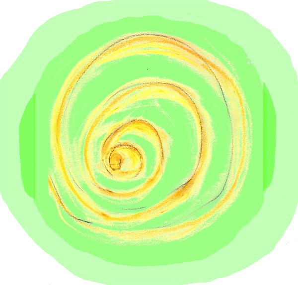 "Drawing: ""Loving Heart,"" by Alice B. Clagett, 25 April 2019, CC BY-SA 4.0, from ""Awakening with Planet Earth,"" https://awakeningwithplanetearth.com ... Description: Yellow vortex on a ground of translucent, light green."