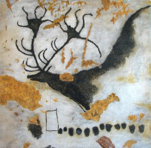 "Image: ""A Painting of the Giant Deer from Lascaux,"" by HTO, 22 May 2009, in Wikimedia Commons, public domain … DESCRIPTION: Photograph of a painting of Megaloceros (a giant deer), from Lascaux Cave, near Montignac, in the Dordogne region of France, c. 17,000 – 15,000 BCE. The deer is black, with huge antlers; the background is white, painted over brown rock, which sometimes shows through. The Paleolithic cave was discovered by four boys on 12 September 1940 CE."