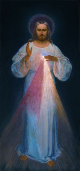"""Image: """"Divine Mercy. Painting in Divine Mercy Sanctuary in Vilnius,"""" by Eugeniusz Kazimirowski, 1934, in Wikimedia Commons. This work is in the public domain in its country of origin and other countries and areas where the copyright term is the author's life plus 70 years or less; PD-US."""