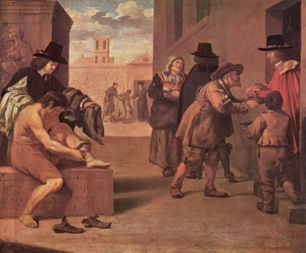 """Image: """"Die Werke der Barmherzigkeit,"""" by Pierre Montallier, ca. 1680, in Wikimedia Commons ... This work is in the public domain in its country of origin and other countries and areas where the copyright term is the author's life plus 100 years or less; PD-US."""